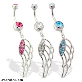 Belly ring with hollow angel wing length 7 16 11mm for Angel wings nipple piercing jewelry